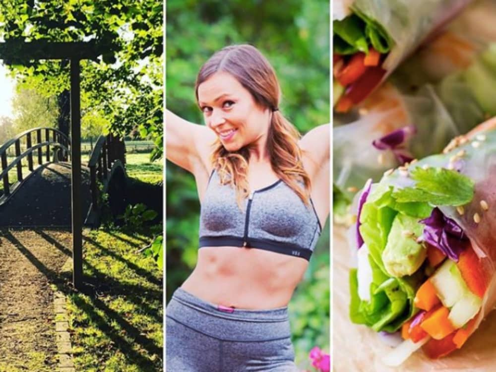 three tile collage bridge in green woodland fitness instructor grey activewear holding arms up healthy vegetable wrap