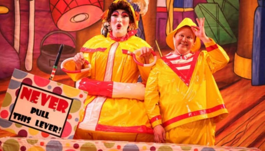 Justin Fletcher and dame Paul Morse in their hello wet weather gear for the messy kitchen scene during Peter Pan at the Hexagon, Reading