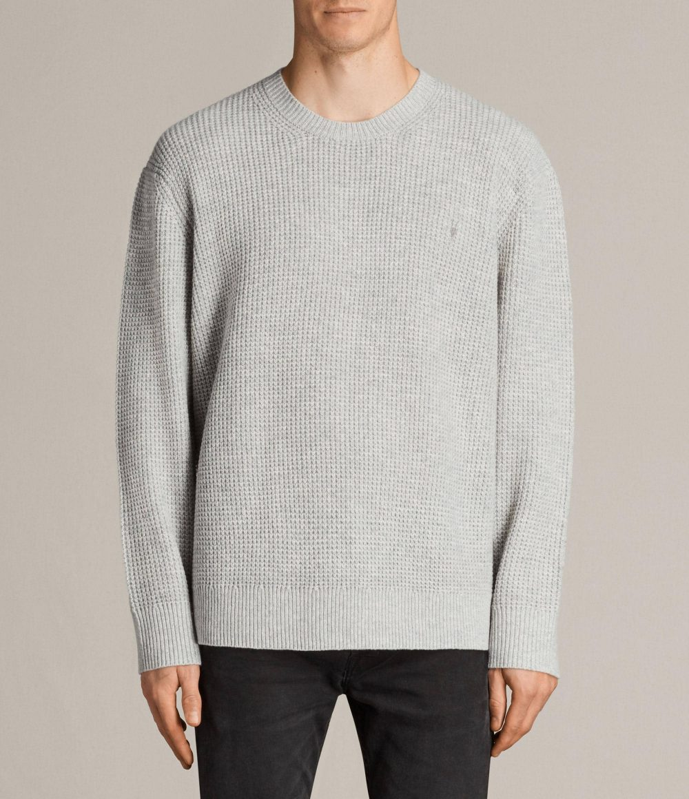 All Saints light grey merino wool waffle knit men's jumper