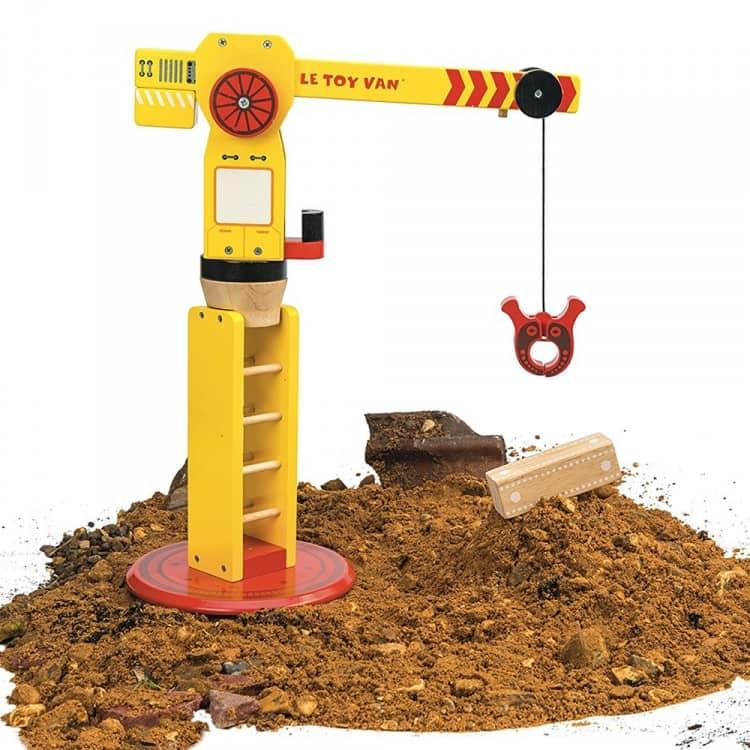 Bright yellow wooden crane way Le Toy Van