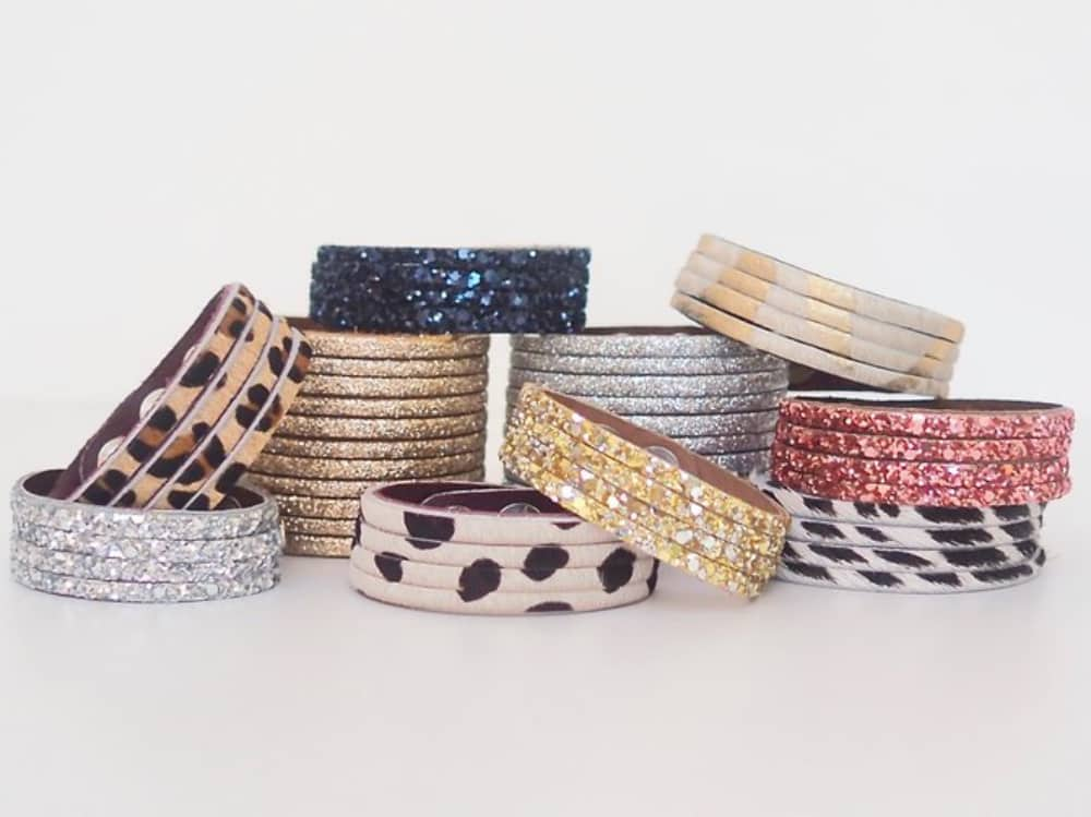 animal print, glittery wide and skinny leather cuffs GiftPop Boutique Berkshire