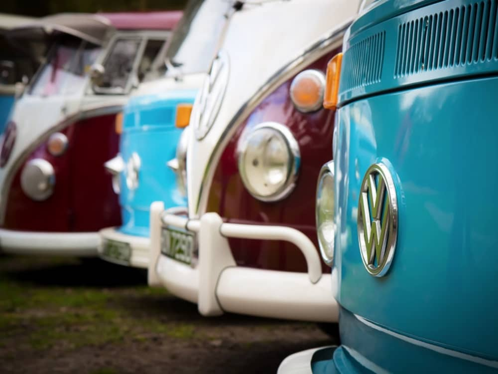 Line up of retro VW Camper Vans from Kens Kampers