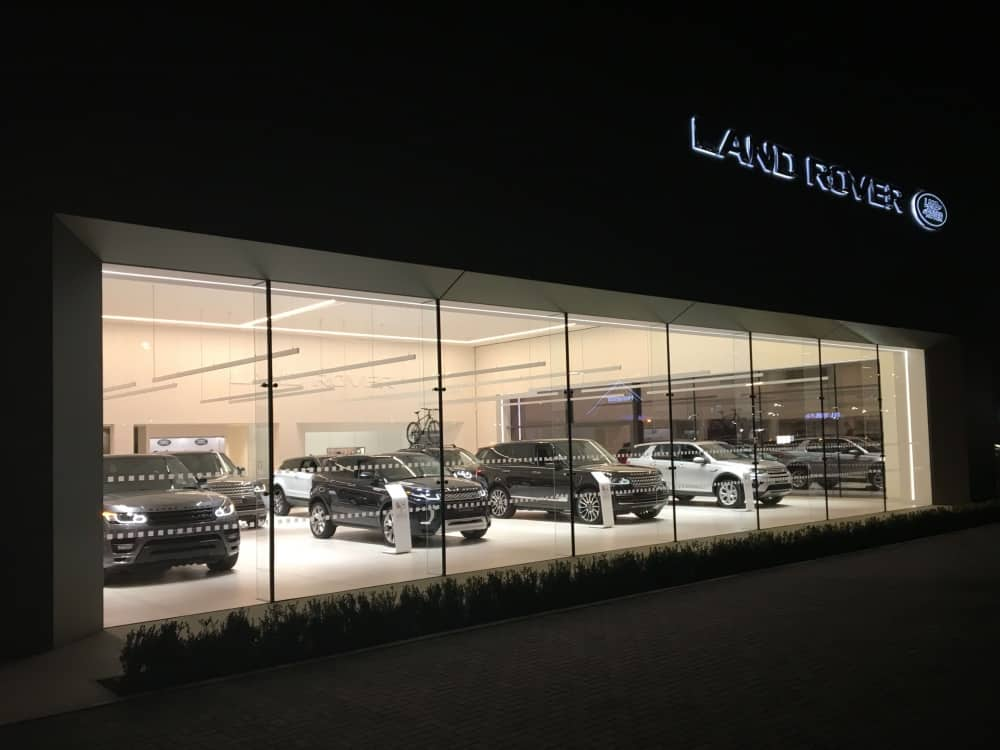 Marshall's Jaguar Land Rover Newbury showroom at night