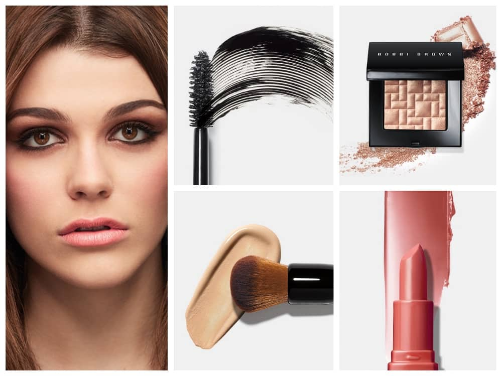 Bobbi Brown glam party face with mascara, foundation, shimmer bummer and rude lipstick