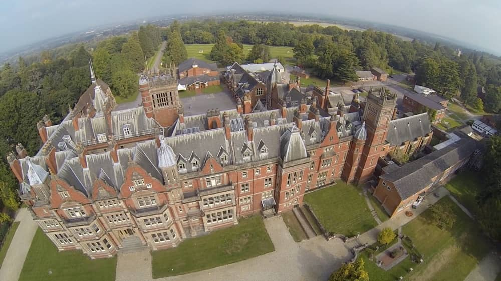 Aerial view of he red brick Victorian mansion that is now home to Reddam House Berkshire School on the Bearwood Estate in Berkshire
