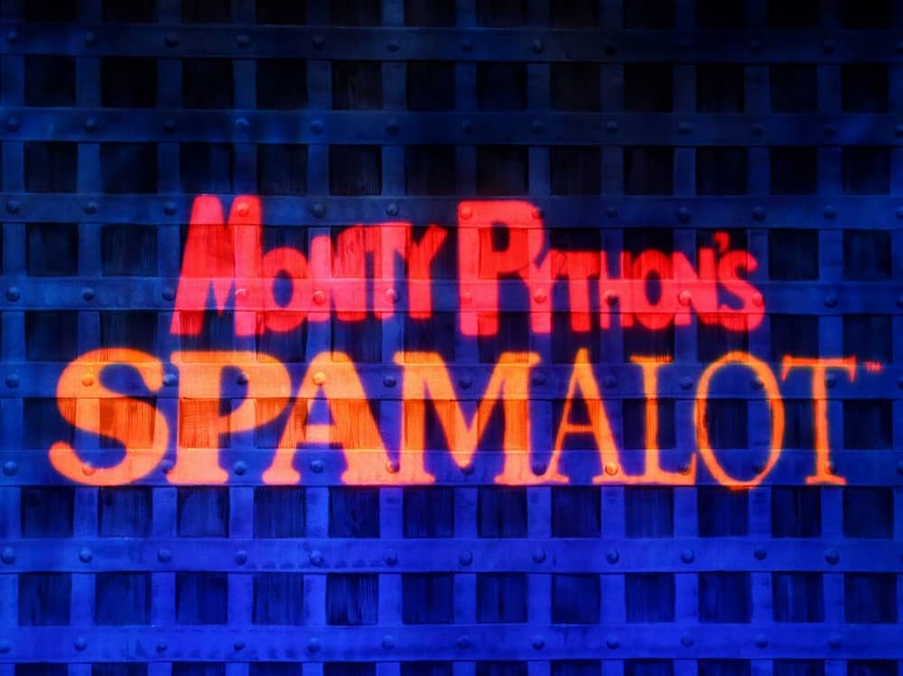 Comedy musical Monty Python's Spamalot beamed onto castle gate