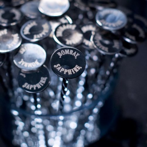 Bombay Sapphirer branded silver cocktail stirrers