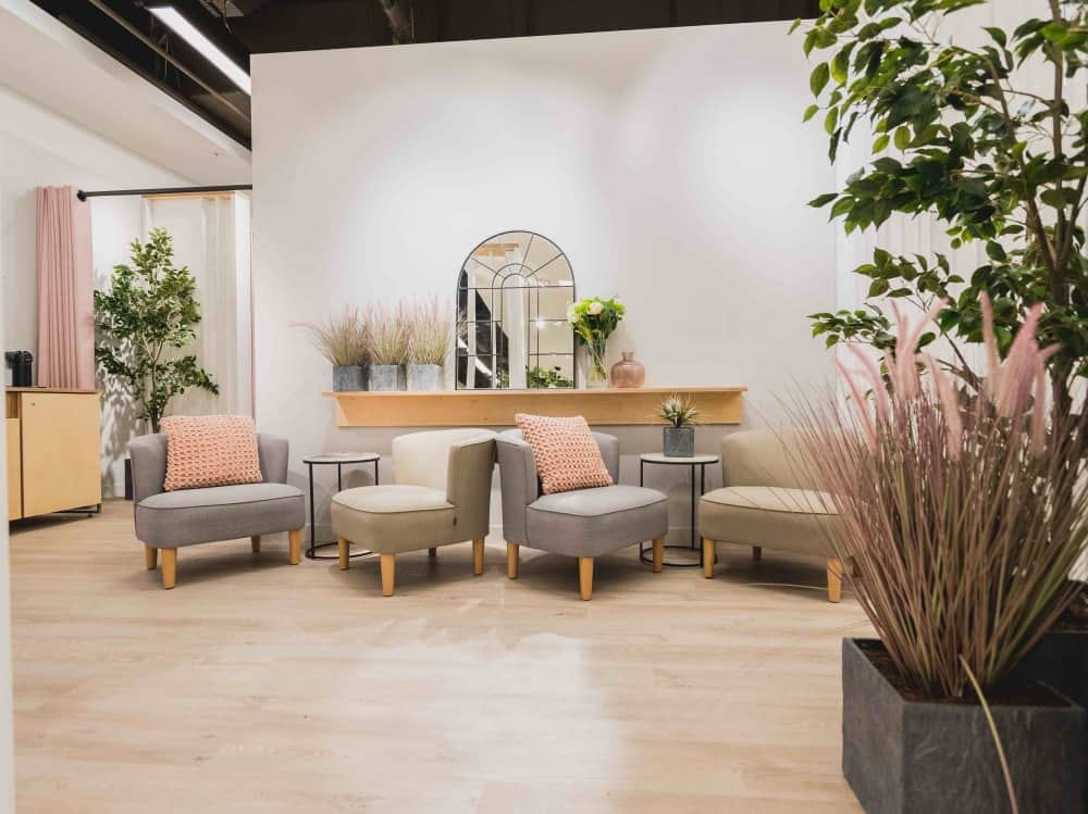 M&S Fit & Style Studio lounge area grey and pink blush decor