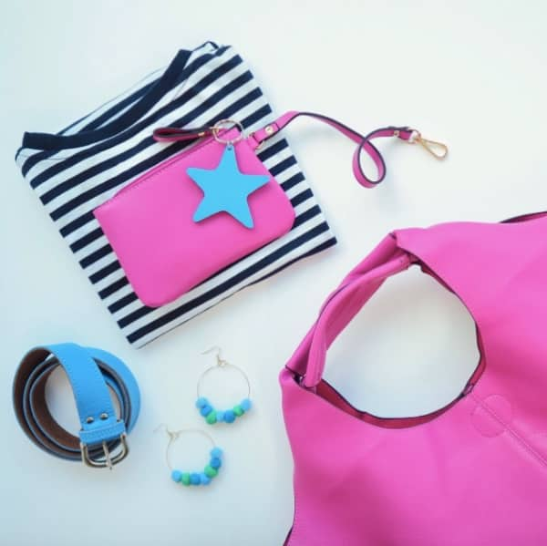 hot pink bag purse blue and white Breton t shirt turquoise belt blue and green pompom earrings and star keyring Gift Pop Boutique Muddy Stilettos Berkshire