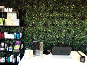 Luminis Beauty salon Sunninghill faux living wall and boutique decor