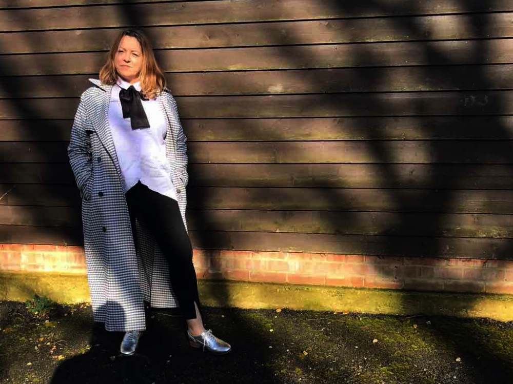M&S SS18 lilac shirt, checked trench coat and black smart leggings