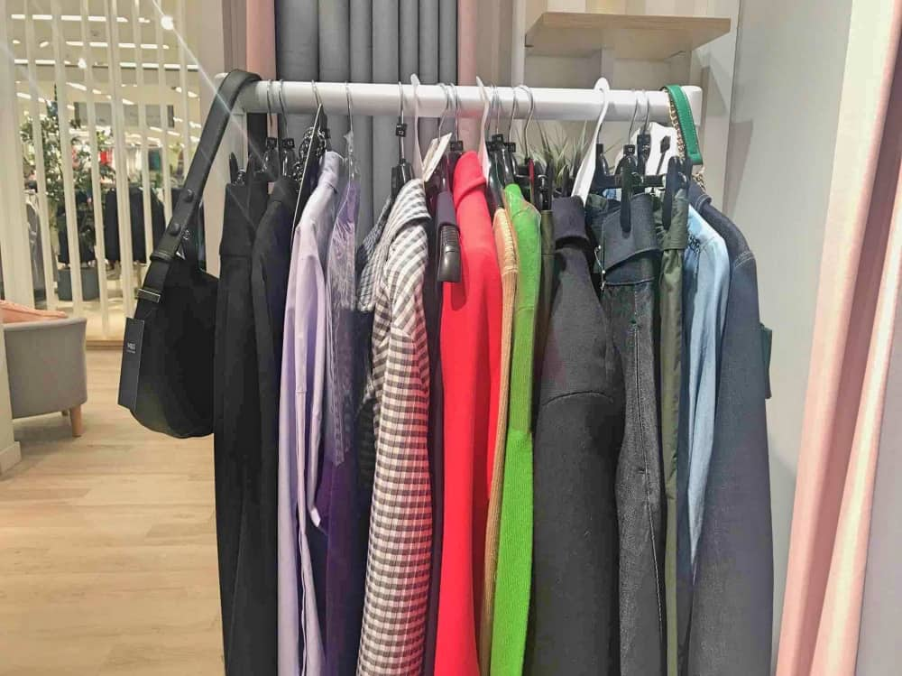 M&S Fit & Style Studio stylists rail clothes selection