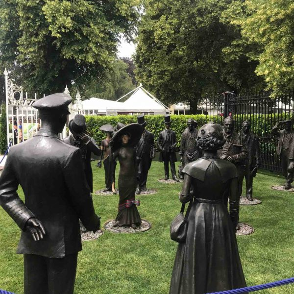 Royal Ascot bronz sculptures of Queen Prince Philip and racegoers called Uniting Two Societies