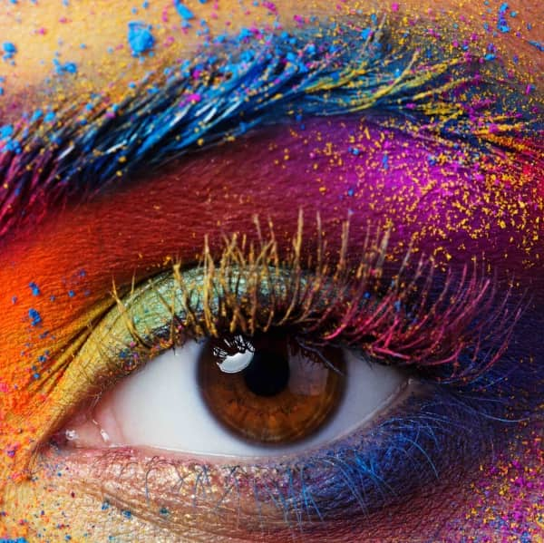 Eye with bright colourful make up
