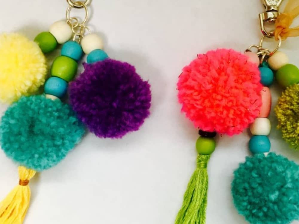 pom poms and tassel handbag charm and keyring