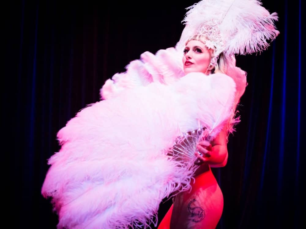 The Hundred Watt Club Burlesque dance act feather pic