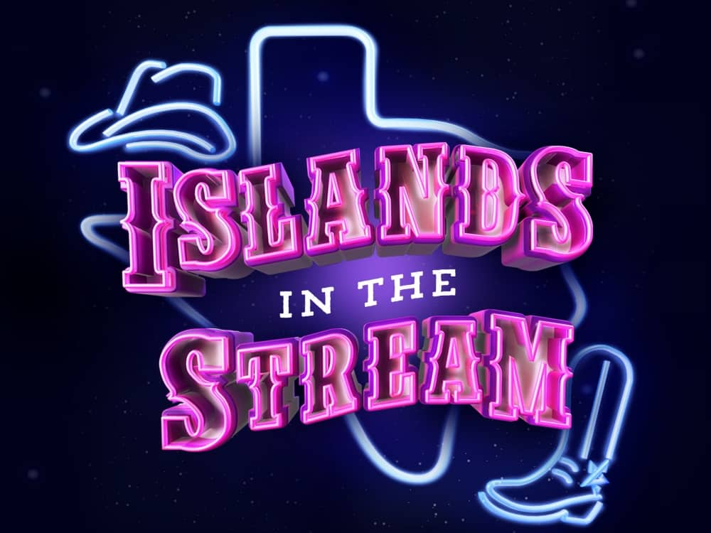 Island on the stream neon sign with cowboy boots and hat Dolly Parton and Kenny Rogers