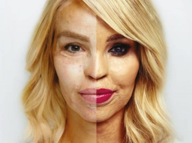 Acid attack survivor Katie Piper debut theatre show half face no make up, half with red lips and smoky eyes