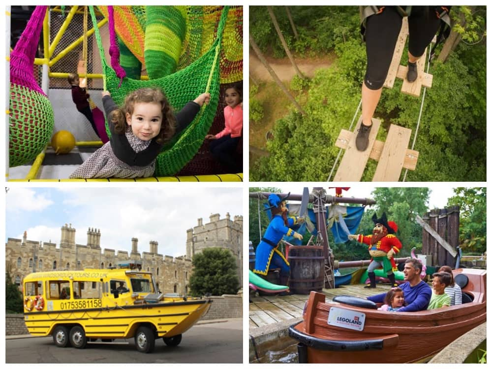 Windsor kid friendly fun The Jelly Lounge soft Play, Go Ap Black Park tree canopy course, windsor duck tours and Legoland Windsor