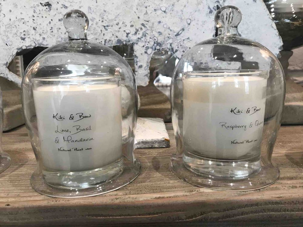 Kiki and Bow natural plant wax scented candle with glass cloche £18