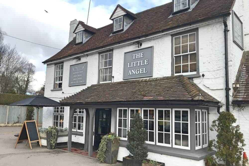 Little Angel pub Henley on Thames Berkshire historic white and grey building