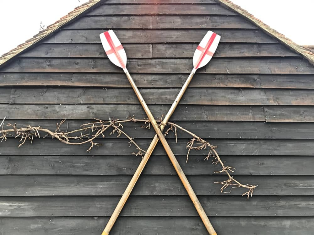 Rowing oars Little Angel pub Henley Berkshire shiplap wood cladding