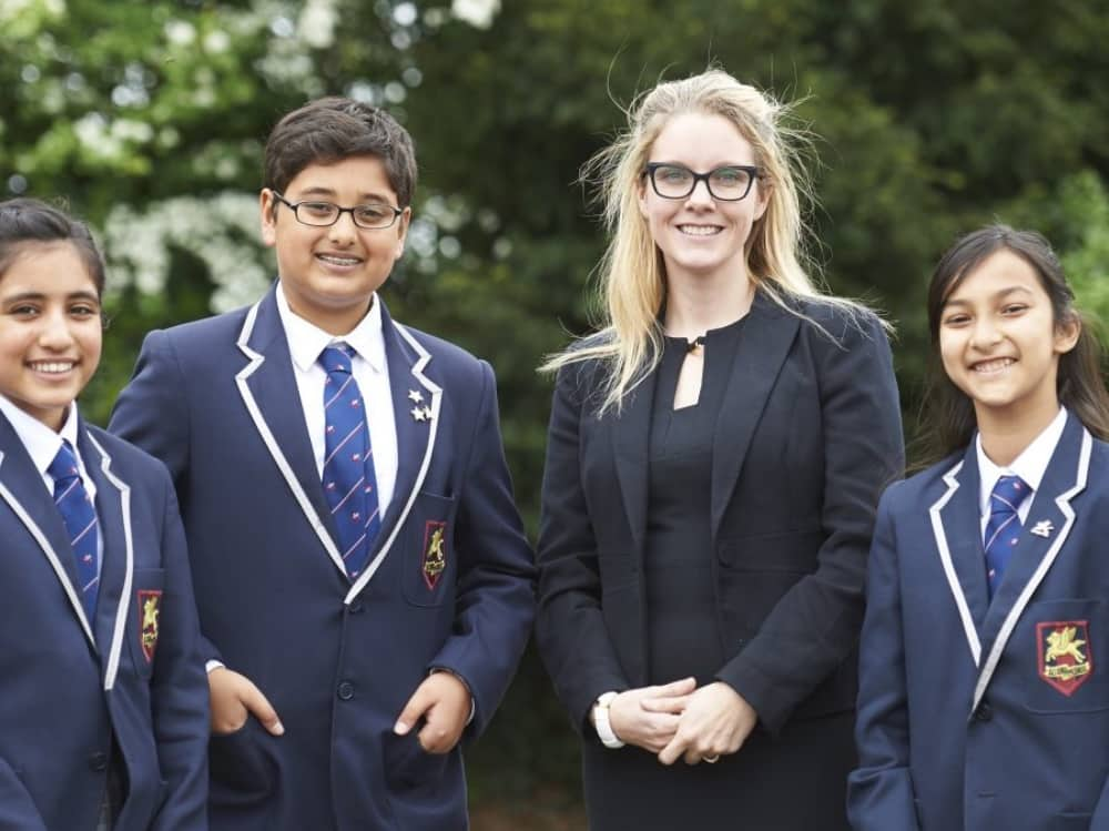 Long Close School Lough Berkshire headteacher Melissa McBride and three pupils