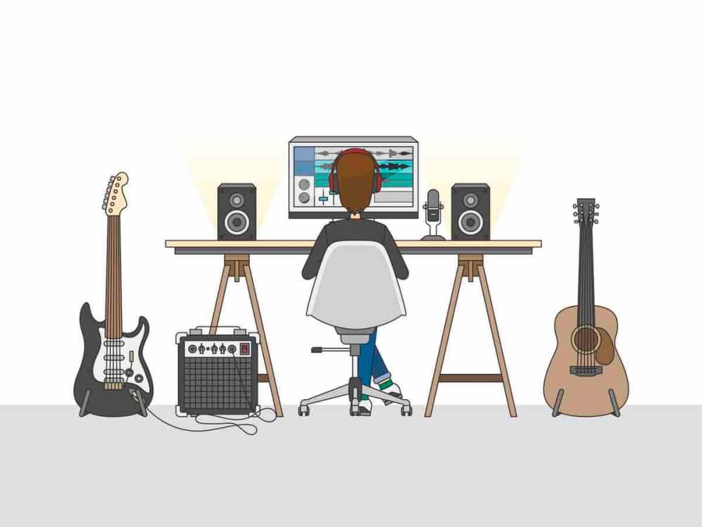 Illustration music production workspace with guitars and a computer