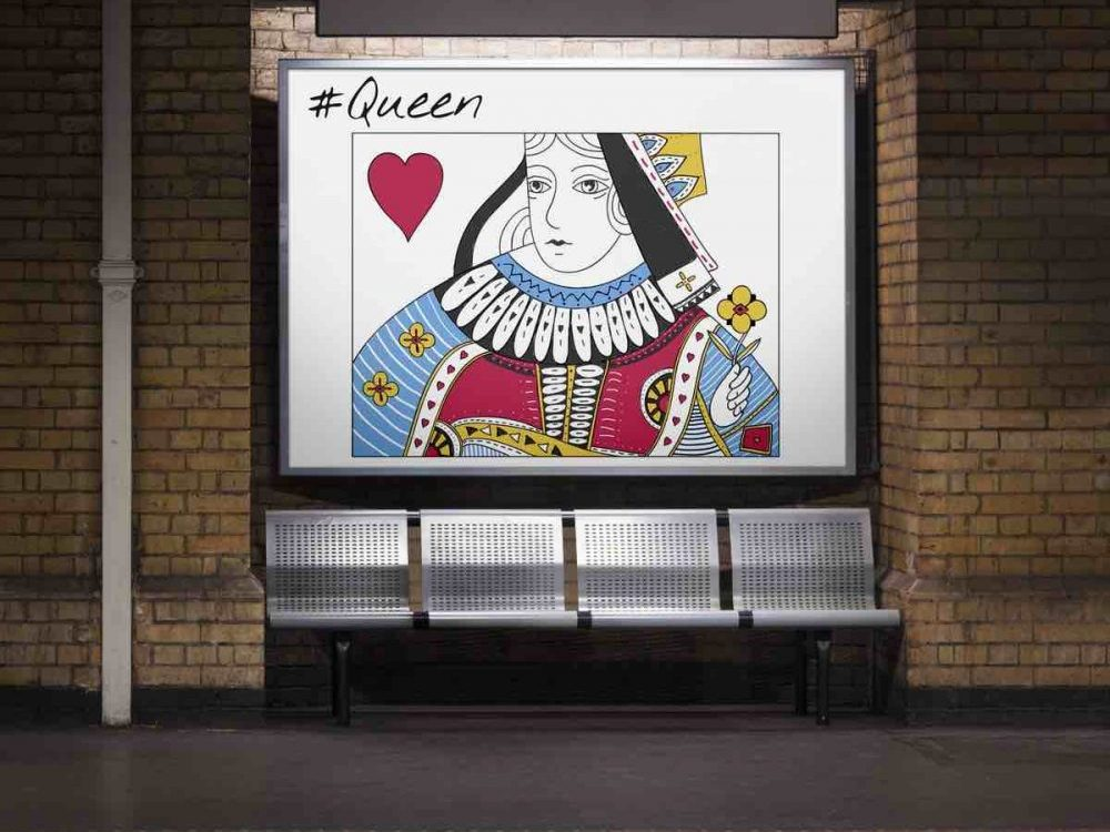 Queen of hearts playing card underground sign