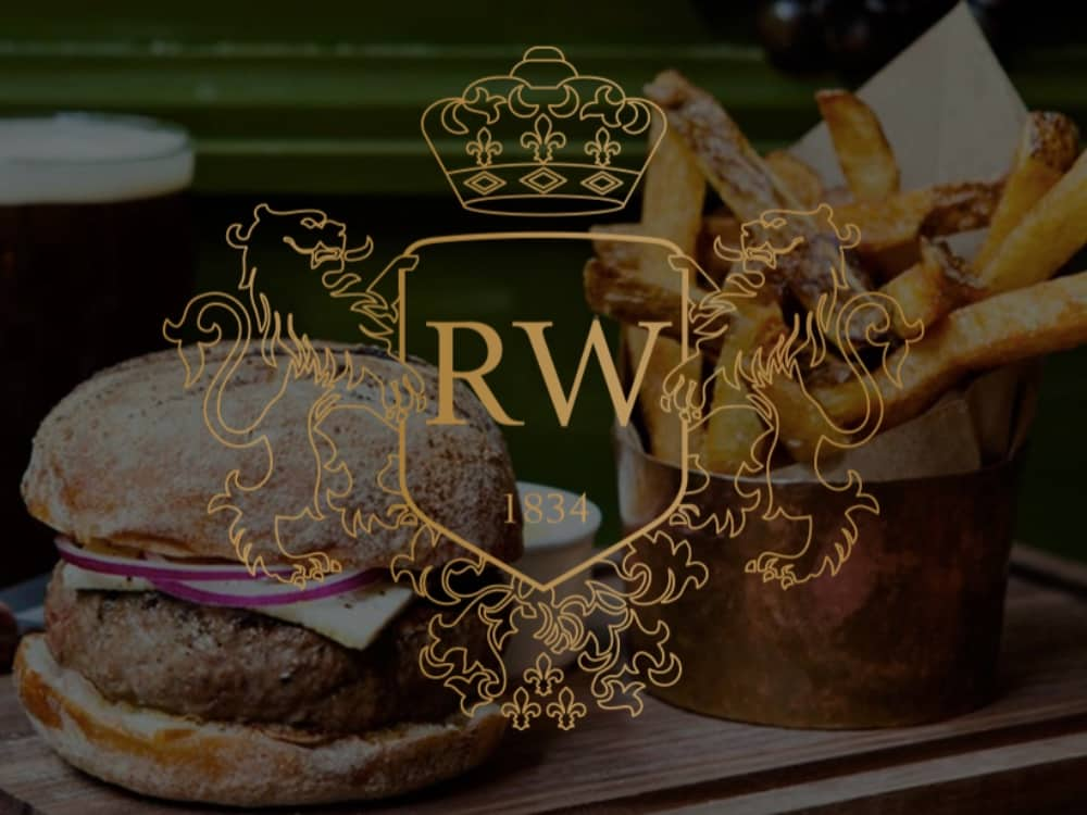 Royal Windsor pub Datchet Rd Windsor logo burger pint and chips in a small copper pan