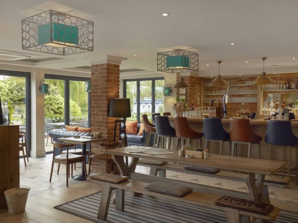 Modern rustic bar cafe Swan at Streatley Berkshire boutique hotel river views