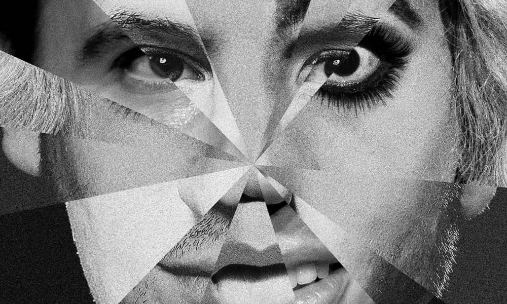 black and white image of multi faceted faces to make up one new image for Testosterone theatre show