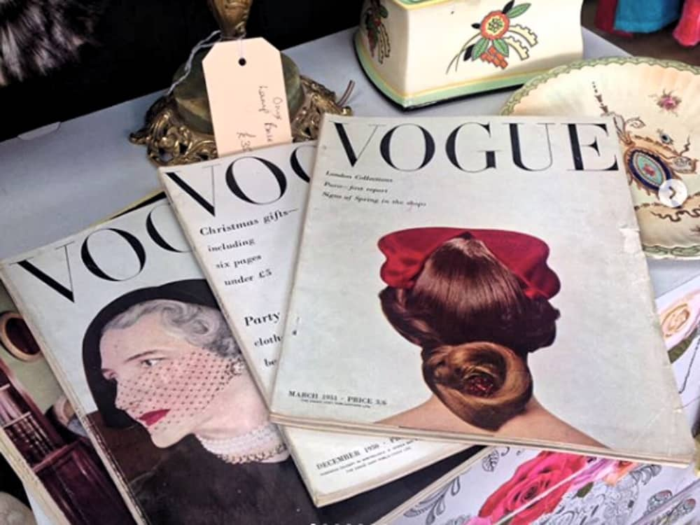 Vintage 1950s vogue magazines at Thames Hospice Vintage and Retro Windsor Berkshire
