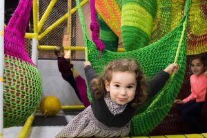 Green, pink and yellow netting at posh soft play centre The Jelly Lounge Windsor Berkshire