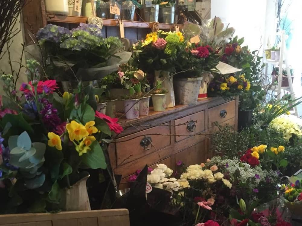 Flowers in buckets old pine dressers and cupboard at Willow and Blooms Newbury