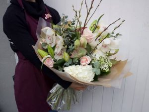 Enormous blush pink and cream bouquet with willow