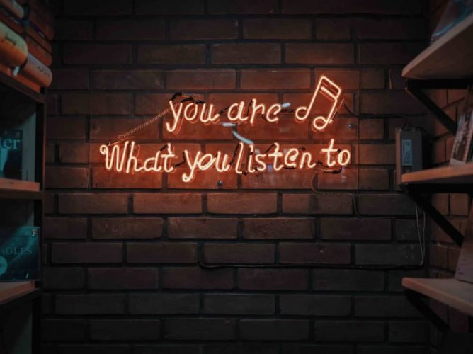 You are what you listen to neon quote Mohammed Metri