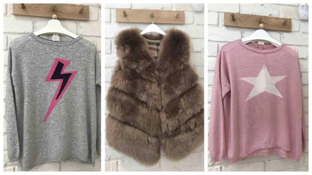 Kiki and Bow Pangbourne Berkshire lightening bolt and star jumpers and a faux fur gilet