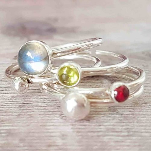 Silver gemstone and nugget stacking rings Limezest Newbury Muddy Stilettos Berkshire