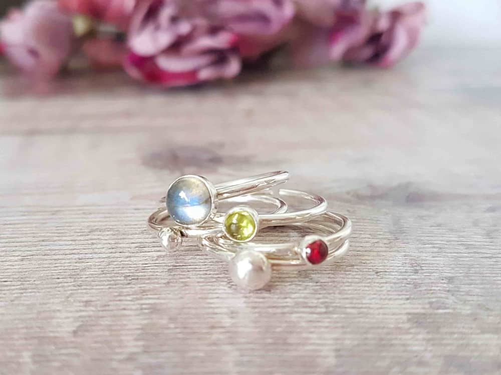 Limezest spring gemstone and nugget stacking ring Newbury Muddy Stilettos berkshire