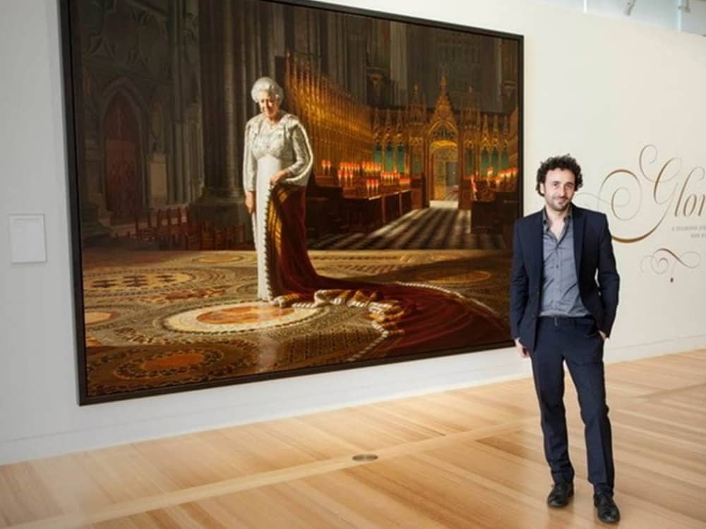 Australian artist Ralph Heimans with his official painting of the Queen's for her Diamond Jubilee