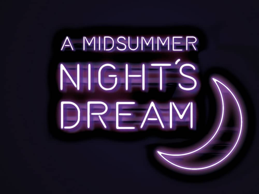 Midnight blue background and purple neon A Midsummer Night's Dream Watermill Theatre Bagnor
