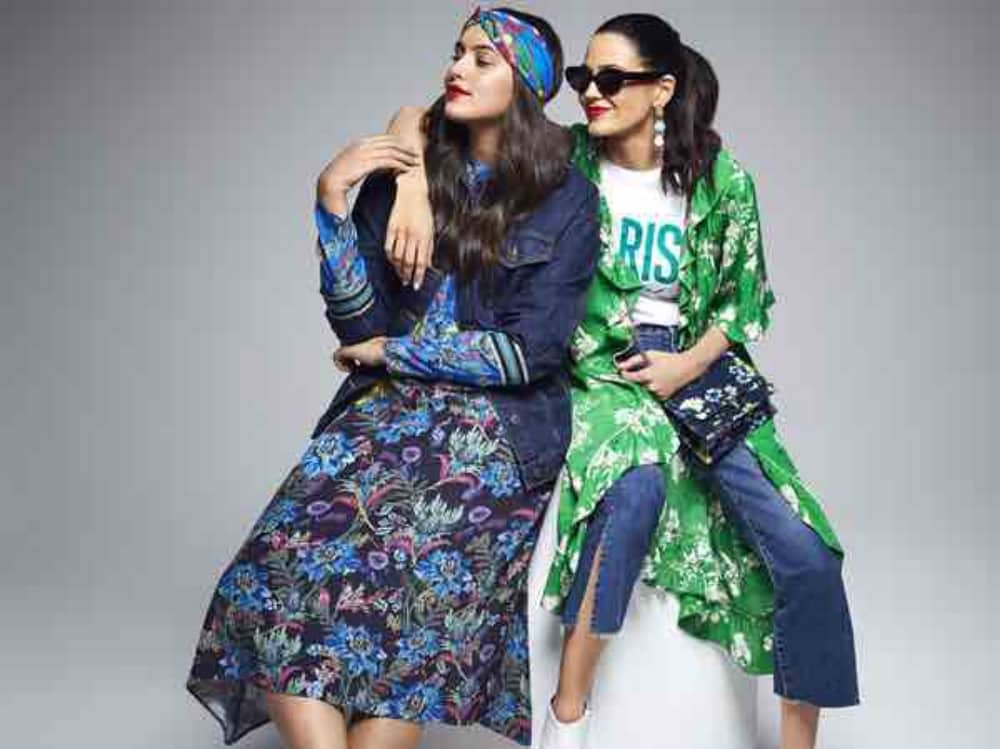 women wearing floral dresses head scarf sunglasses and cropped jeans