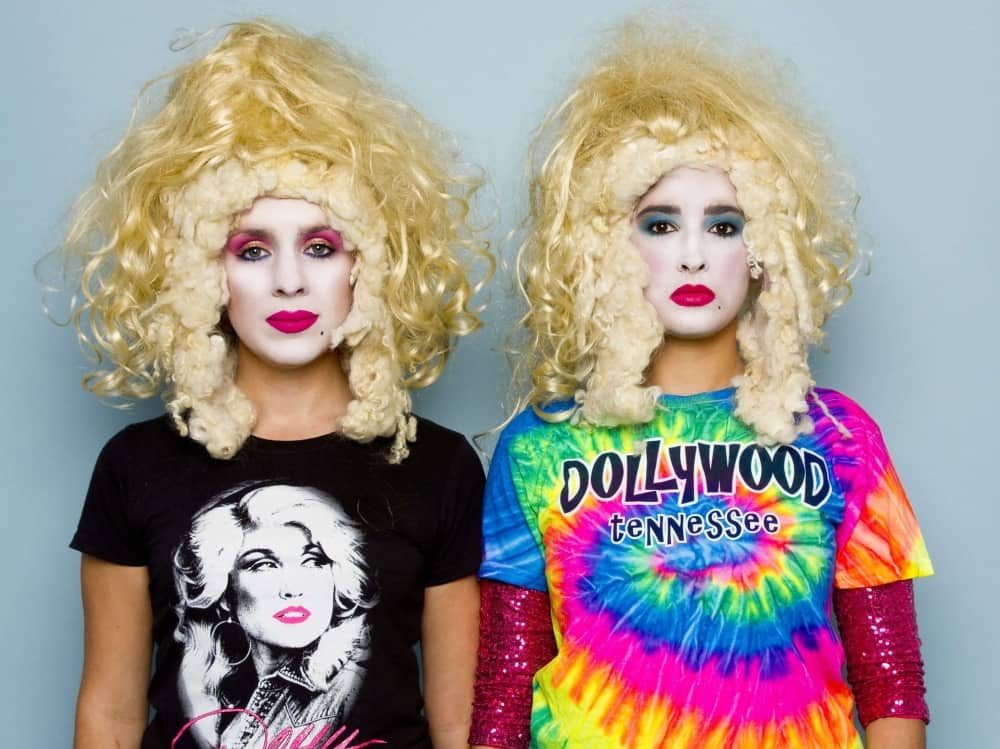 Big blonde hair, painted drag faces and Dolly Parton T Shrts in DollyWould