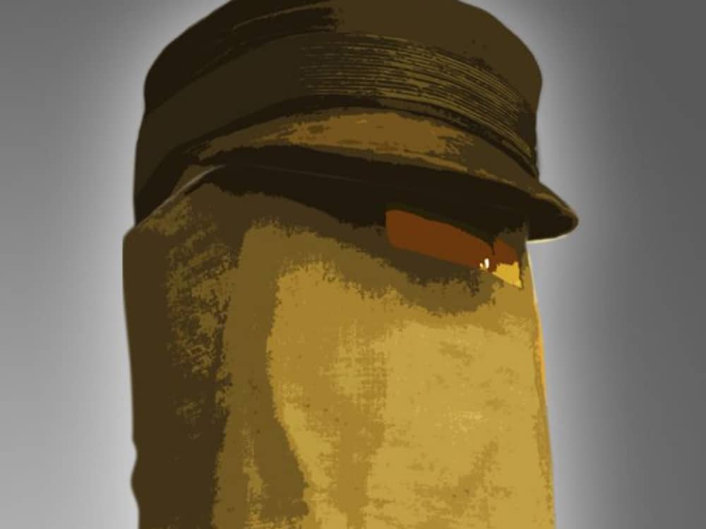 The Elephant Man South hill Park Man wearing brown cap and sackcloth covering his diseased face