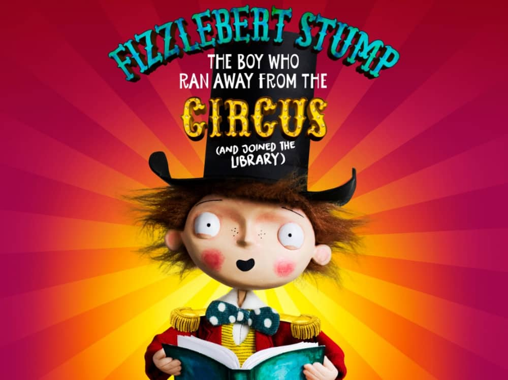 Fizzlebert Stump runs away from the circus puppet wearing top hat and ring masters coat