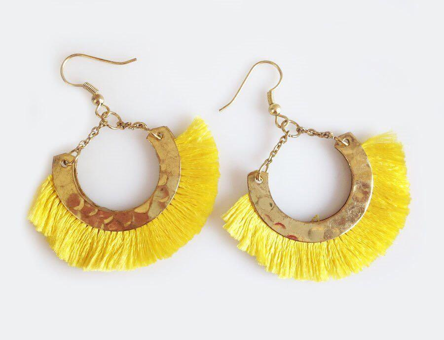 Yellow and gold fringe tassel earrings Gift Pop Boutique