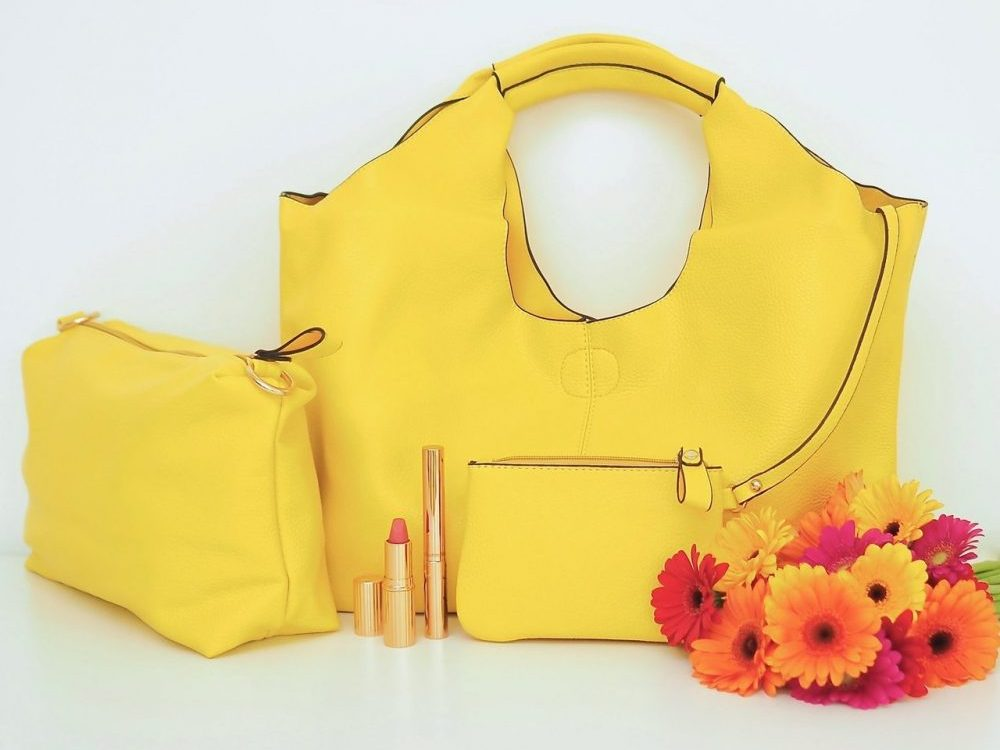 Yellow 3 in 1 pu leather tote bag with cross body bag and purse included Gift Pop Boutique