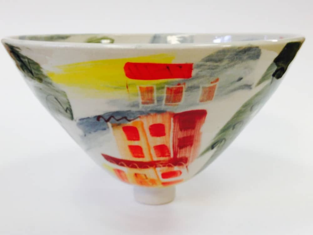Julie Simmonds & David Pope Ceramic oriental style bowl painted with red yellow and grey modern design