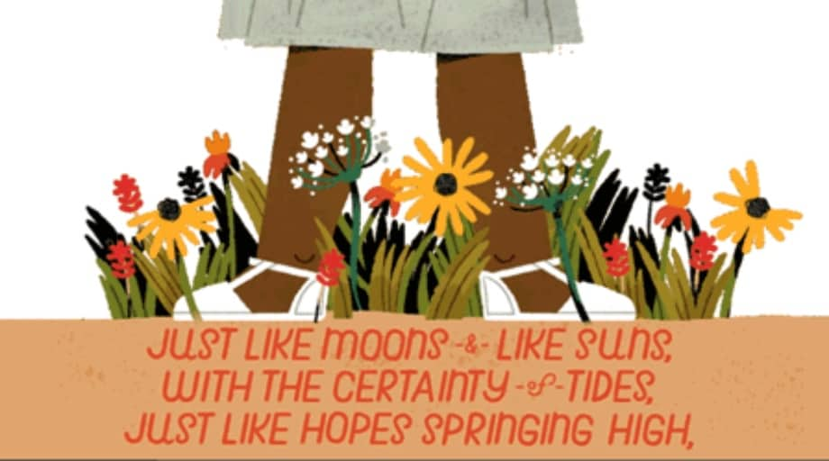 Google Doodle illustration os Mary Angelou's Still I Rise girls stood in flower garden